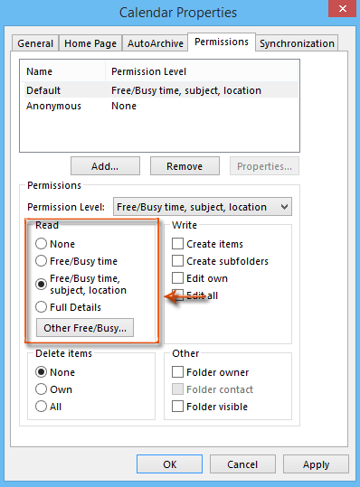 How to set permission for viewing Free/Busy information in Outlook?