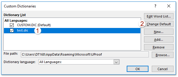 How to change default dictionary in Outlook?
