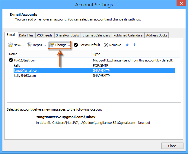 How to change Deleted Items folder of IMAP accounts in Outlook?