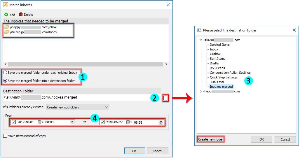 How to change and combine inbox folders in Outlook?