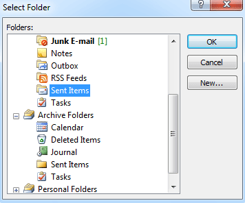 Outlook: change the folder where sent items are stored