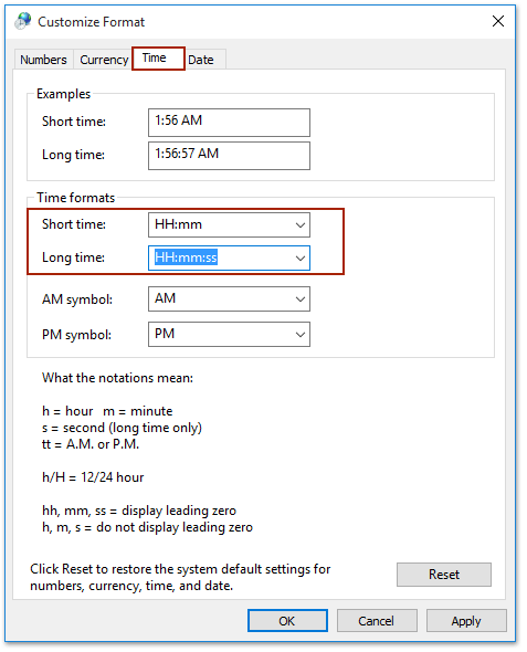 How to change Outlook calendar to military time (24-hour clock)?