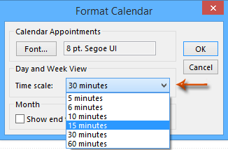 How to change time increments of calendars in Outlook?