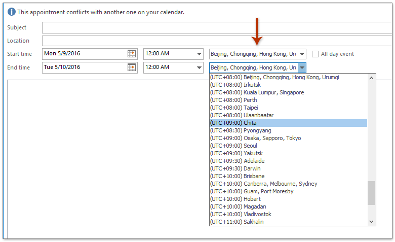 How to change time zones in Outlook calendar?