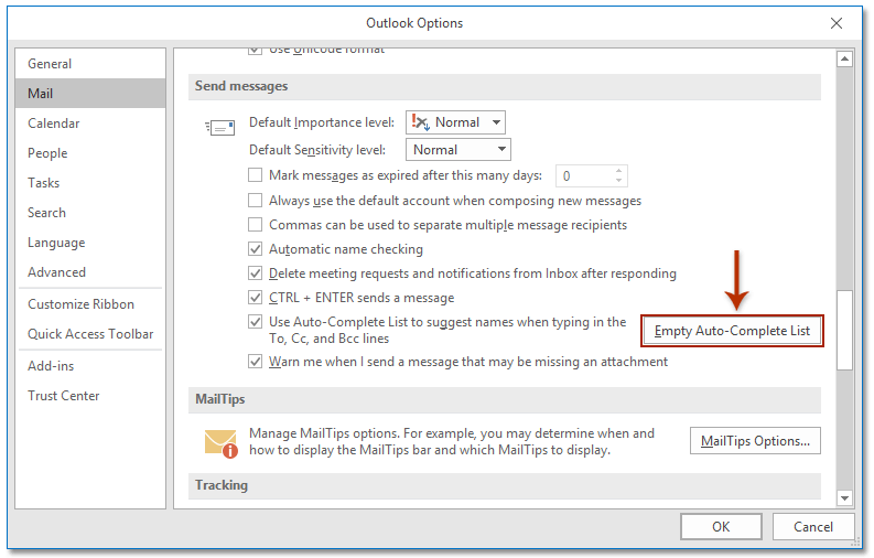 How to clear autocomplete cache in Outlook?
