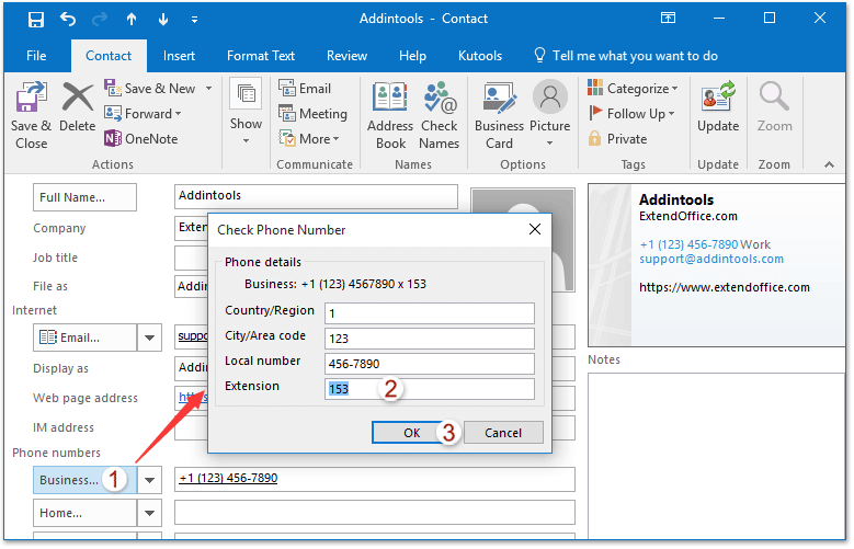 How to add extensions to phone numbers of Outlook contact?