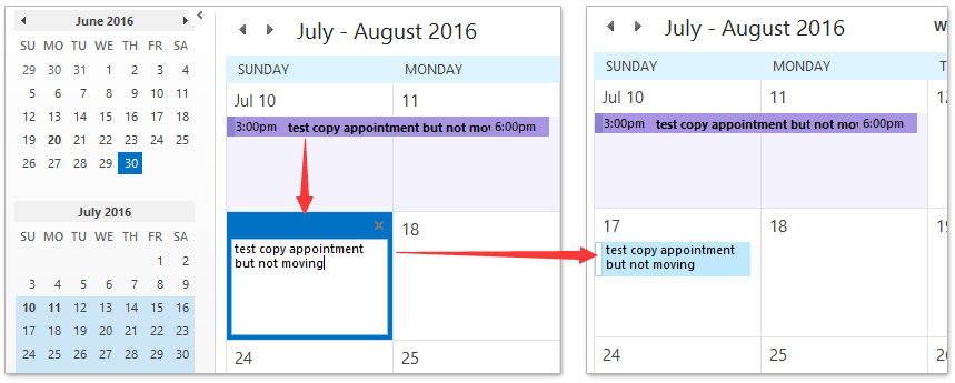 How to copy an appointment to another day in Outlook calendar?