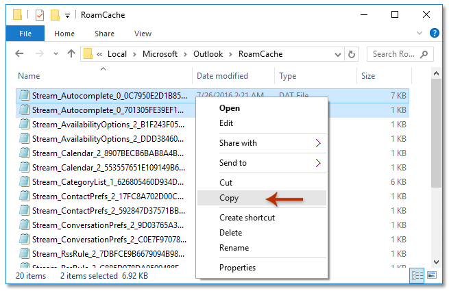 How to copy or export the autocomplete file/list in Outlook?