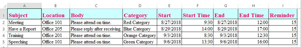 Exportieren von Excel-Daten nach Termin 1