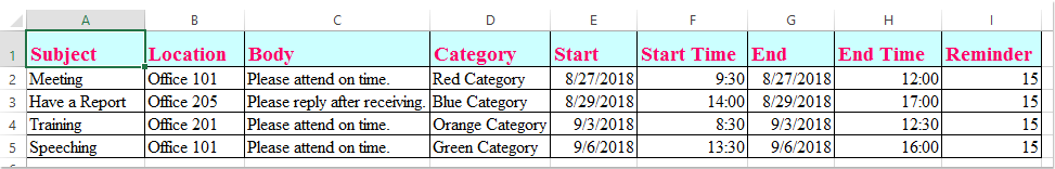 doc εξαγωγή δεδομένων Excel στο ραντεβού 1