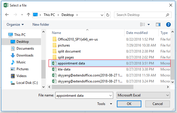 doc export excel data to appointment 3