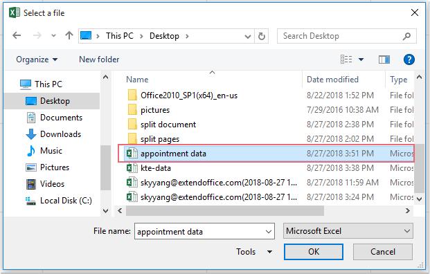 doc εξαγωγή δεδομένων Excel στο ραντεβού 3