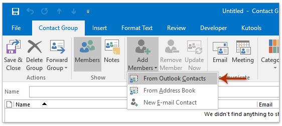 How to create a contact group (distribution list) from Excel data?