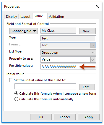 How to add a drop down list with custom filed in Outlook task window?