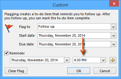 How to change the default follow up time in Outlook?