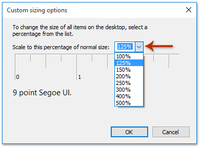 How to change default font size in Reading Pane in Outlook?