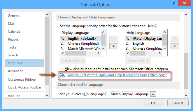 How to change the default language in Outlook?