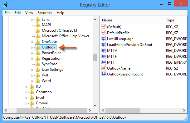 How to change the default PST location/path registry in Outlook?