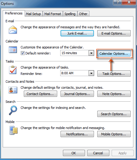 How to define and change working hours / days / week in Outlook?