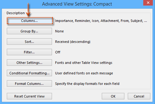 How to add or remove flag status column in Outlook?