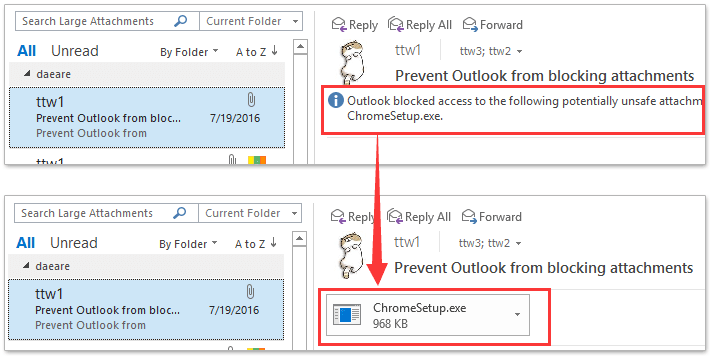 How to delete blocked attachments from emails in Outlook?