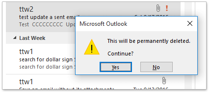How to delete emails bypassing the trash folder in Outlook?