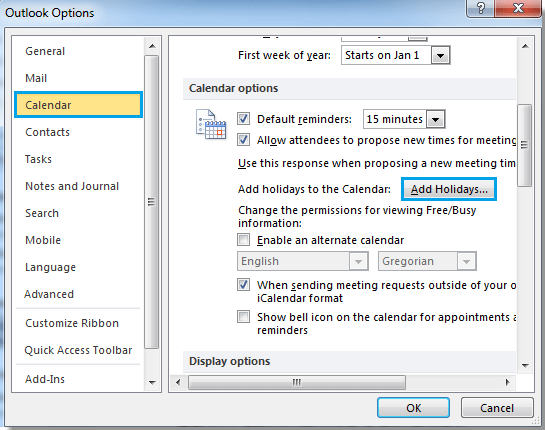 How to add holidays to calendar in Outlook?