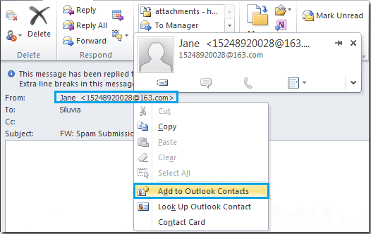 how to add contact information to outlook email
