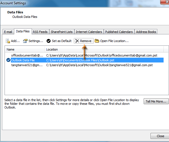 How to add, close and remove data file in Outlook?