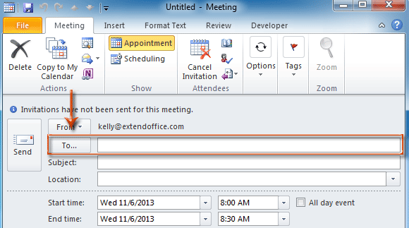 How to add and remove meeting (required/optional/resource
