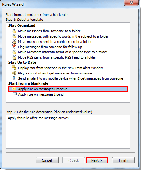 How to display new mail desktop alert for subfolders in Outlook?