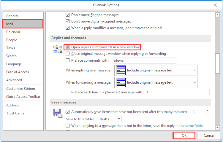 How to always pop up all email replies by default in Outlook?