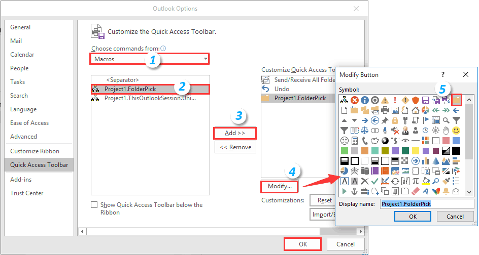 How to assign a button to a specified macro in Outlook?