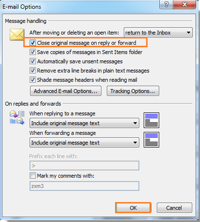 How to auto close original message after replying or
