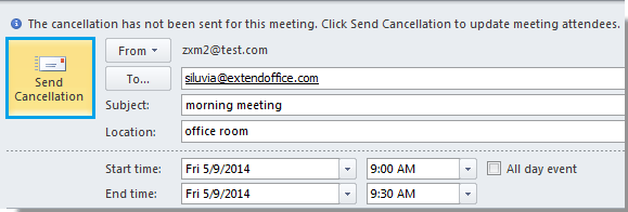 How to cancel/delete meeting without sending cancellation in