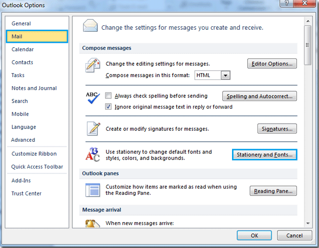 how to change email default font settings and theme in outlook