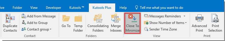 How to stop Outlook getting closed when minimized/closed?