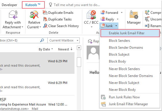 free spam filter for outlook