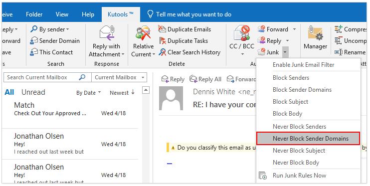 doc add sender to safe blocked list 2