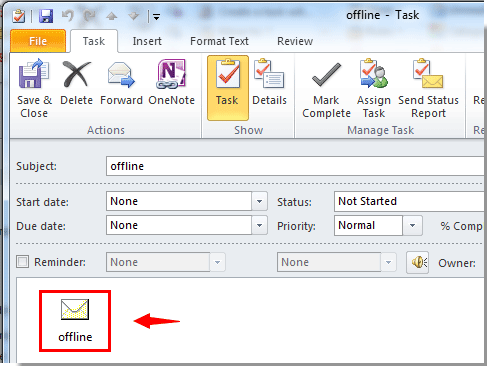 How to create task from email with attachment in Outlook?