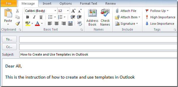 outlook save email as template