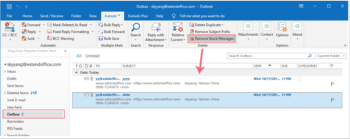 How to delete email stuck in Outbox of Outlook?