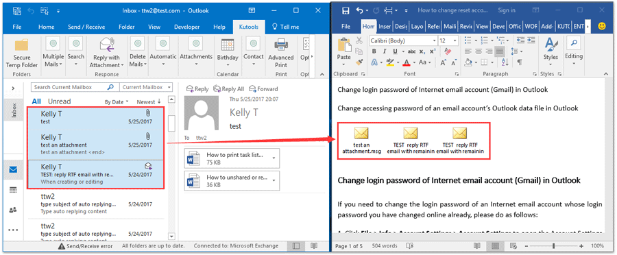How to embed Outlook email in word document?
