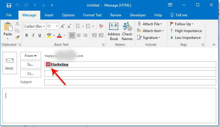 How to send a group contact list in outlook