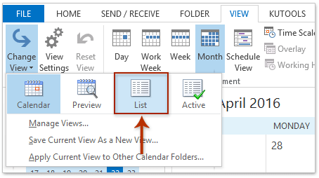 How to export calendar from Outlook to Excel spreadsheet?