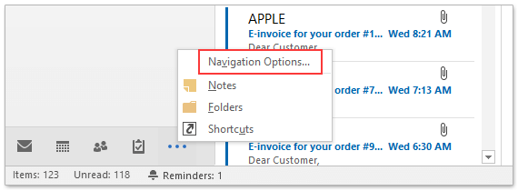 How to show or hide folder list view in Outlook?