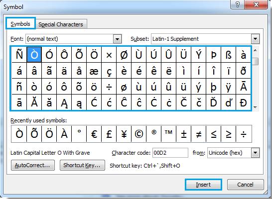 microsoft word umlaut codes