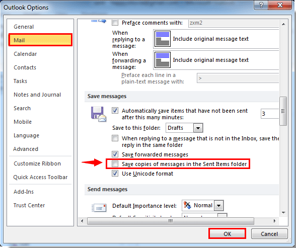 How to move sent messages to a specified folder in Outlook?