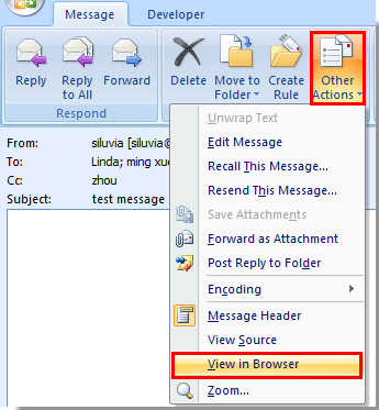 How to open email in web browser in Outlook?