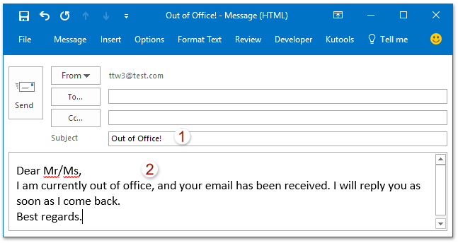out of office email response